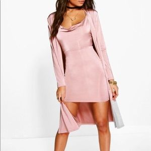 Cowl neck pink dress